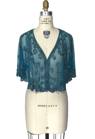 1920's Beaded Vintage Glamour Wedding Capelet - The Claudette - Peacock Blue