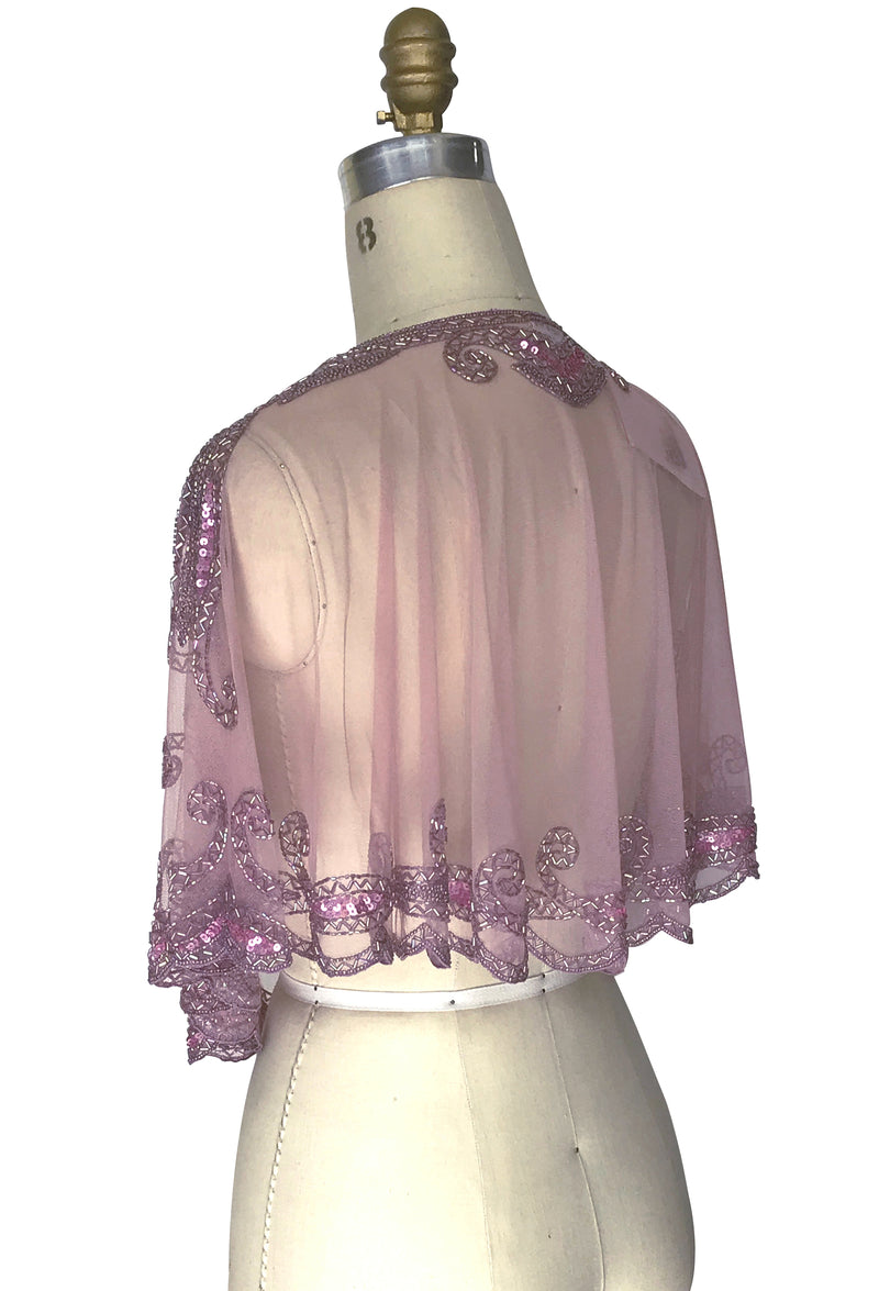 1920's Beaded Vintage Glamour Wedding Capelet - The Claudette - Rose Mauve - The Deco Haus