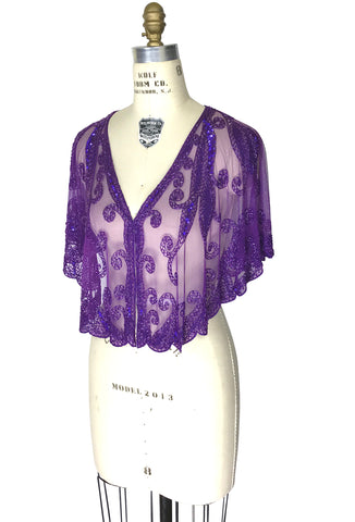 1920's Beaded Vintage Glamour Wedding Capelet - The Claudette - Royal Purple - The Deco Haus