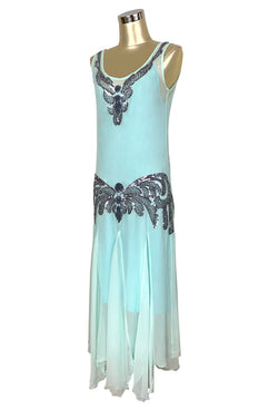 1920's Chiffon Beaded Handkerchief Gown - The Reverie - Aqua Blue - The Deco Haus