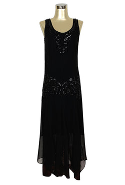1920s Fashion & Clothing | Roaring 20s Attire 1920S CHIFFON BEADED HANDKERCHIEF GOWN - THE REVERIE - KOHL BLACK $229.95 AT vintagedancer.com