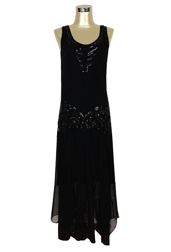 1920's Chiffon Beaded Handkerchief Gown - The Reverie - Kohl Black - The Deco Haus