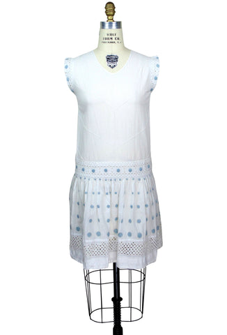 Vintage 1920's Drop Waist Baby Blue Polka Dot Lawn Dress - The Deco Haus