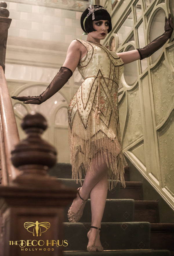 1920's Vintage Flapper Beaded Fringe Gatsby Gown - The Icon - Absinthe Gold - The Deco Haus