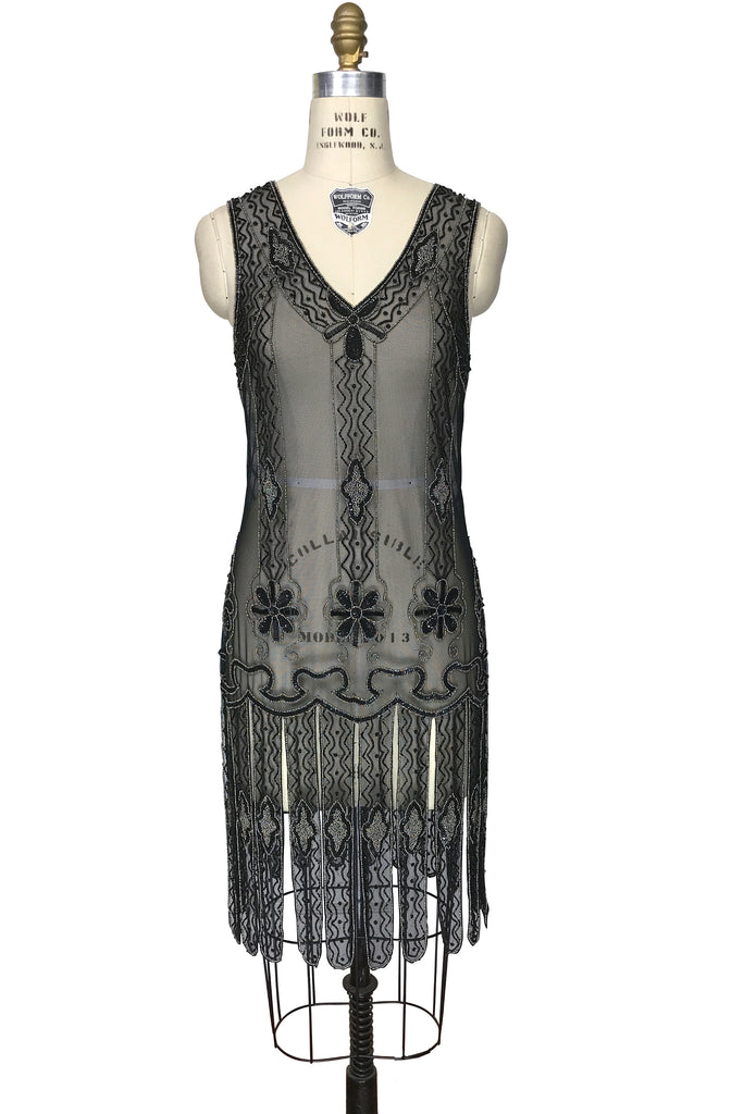 1920s Style Dresses, Flapper Dresses Vintage 1920s Art Deco Beaded Carwash Panel Dress - The Duchess - Black Pewter $279.95 AT vintagedancer.com