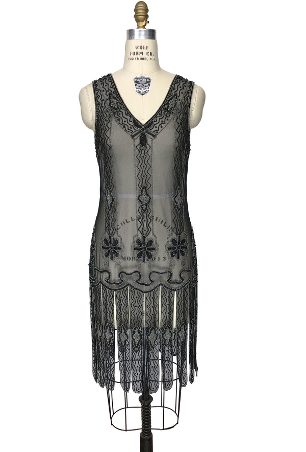 Vintage 1920s Art Deco Beaded Carwash Panel Dress - The Duchess - Black Pewter