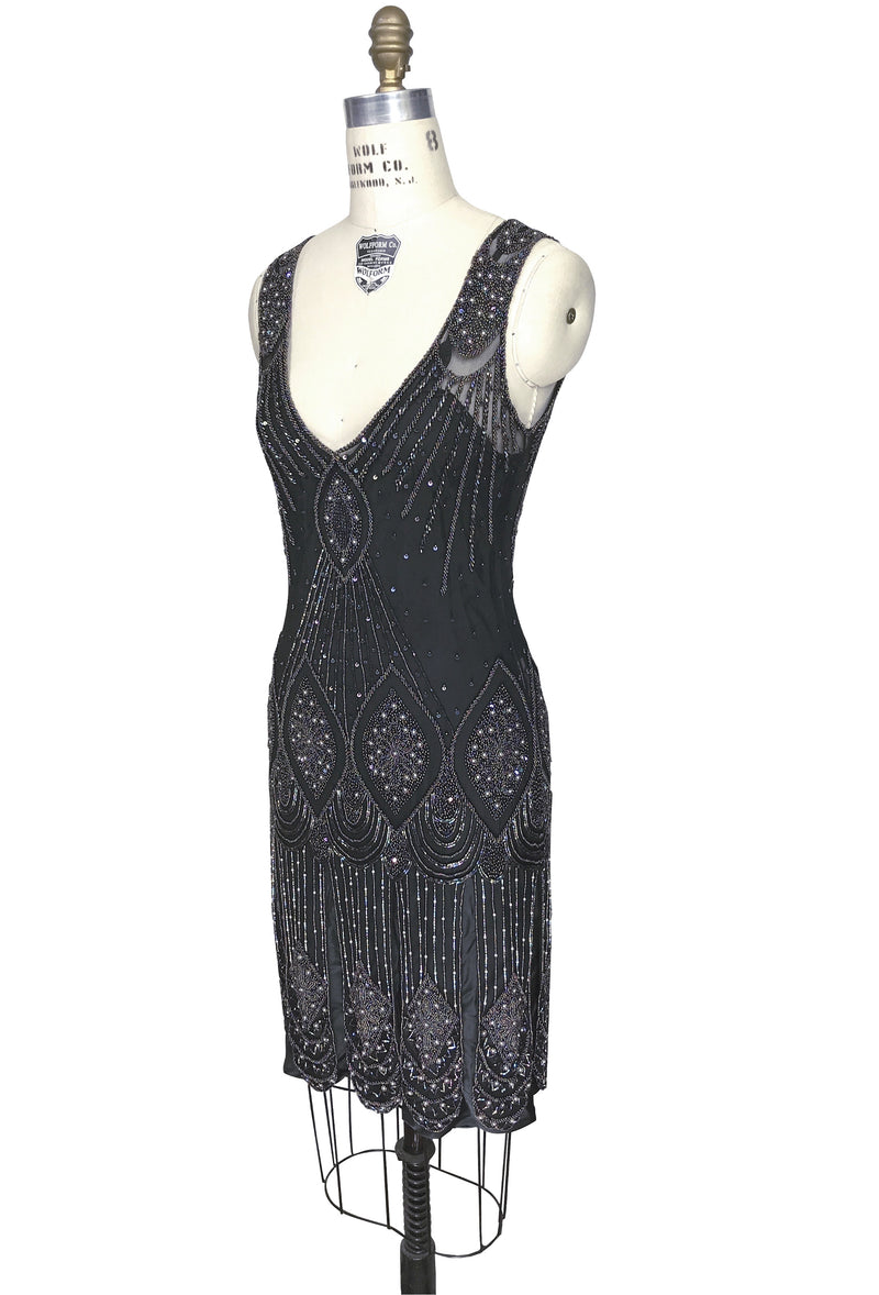 1920's Flapper Carwash Hem Beaded Party Dress - The Starlet - Aurora - The Deco Haus