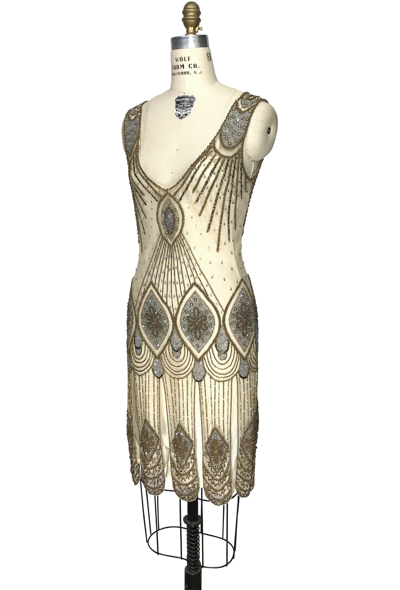 1920's Flapper Carwash Hem Beaded Party Dress - The Starlet - Champagne Bronze