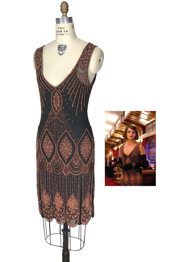 1920's Flapper Carwash Hem Beaded Party Dress - The Starlet - Copper on Jet - Dr. Who - The Deco Haus