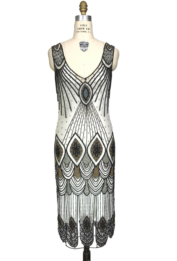 1920's Flapper Carwash Hem Beaded Party Dress - The Starlet - Midi - Black on White - The Deco Haus