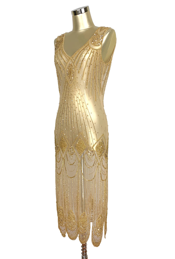 1920's Flapper Carwash Hem Beaded Party Dress - The Starlet - Midi - Butterscotch Gold