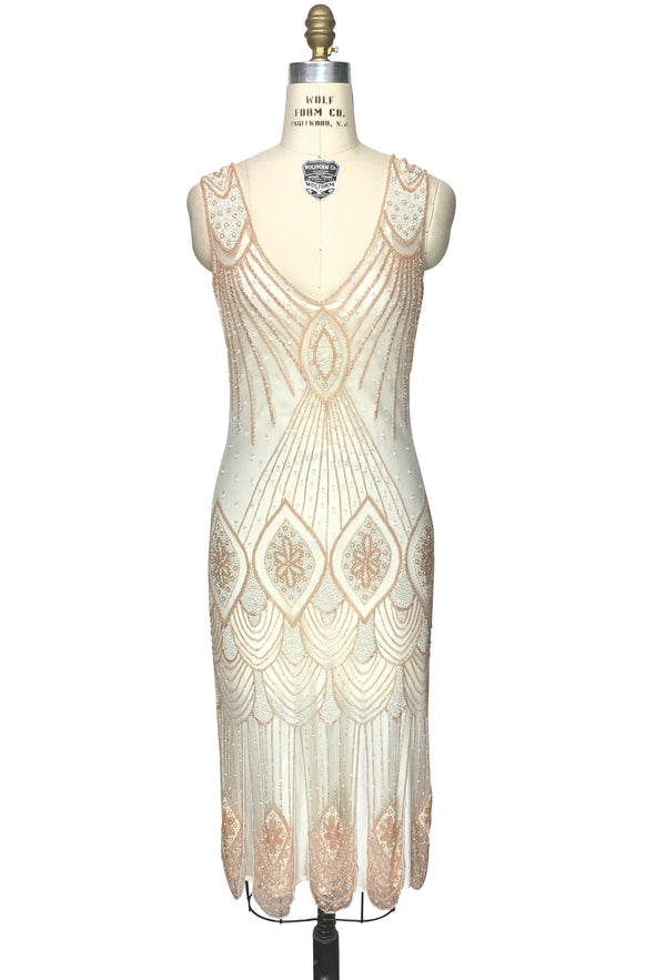 1920's Flapper Carwash Hem Beaded Party Dress - The Starlet - Midi - Peaches & Cream