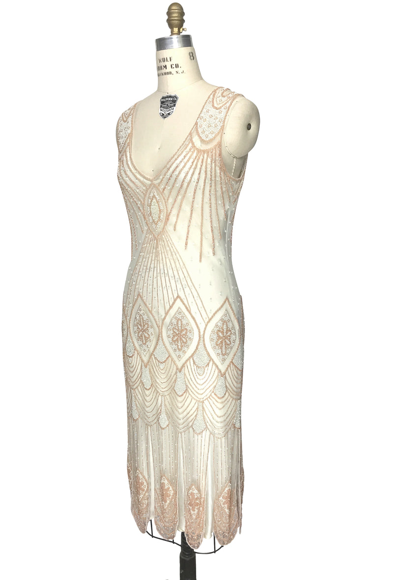 1920's Flapper Carwash Hem Beaded Party Dress - The Starlet - Midi - Peaches & Cream - The Deco Haus