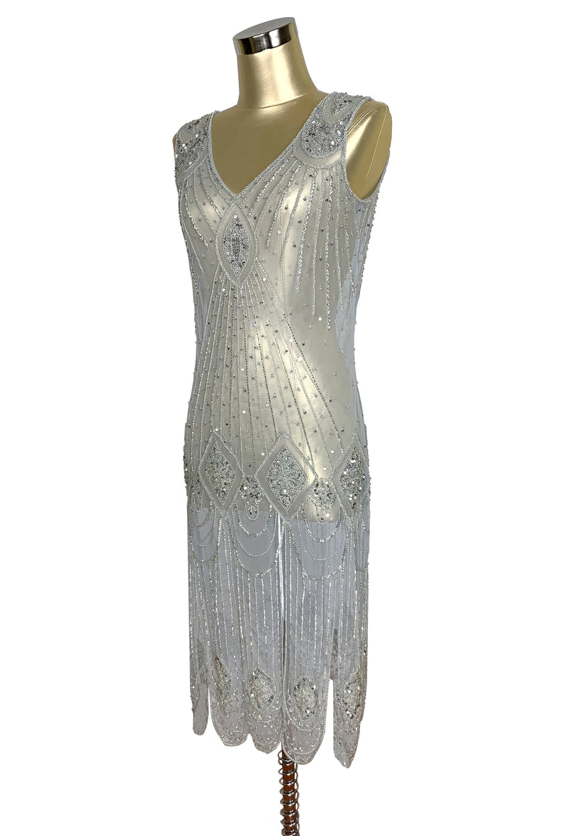 1920's Flapper Carwash Hem Beaded Party Dress - The Starlet - Midi - Silver - The Deco Haus