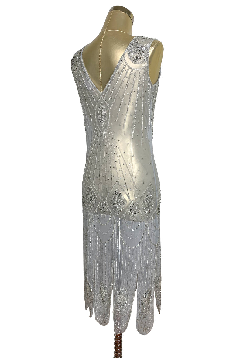 1920's Flapper Carwash Hem Beaded Party Dress - The Starlet - Midi - Silver