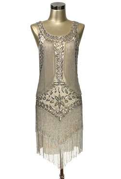 1920's Flapper Fringe Gatsby Party Dress - The Roxy - Champagne Silver Satin
