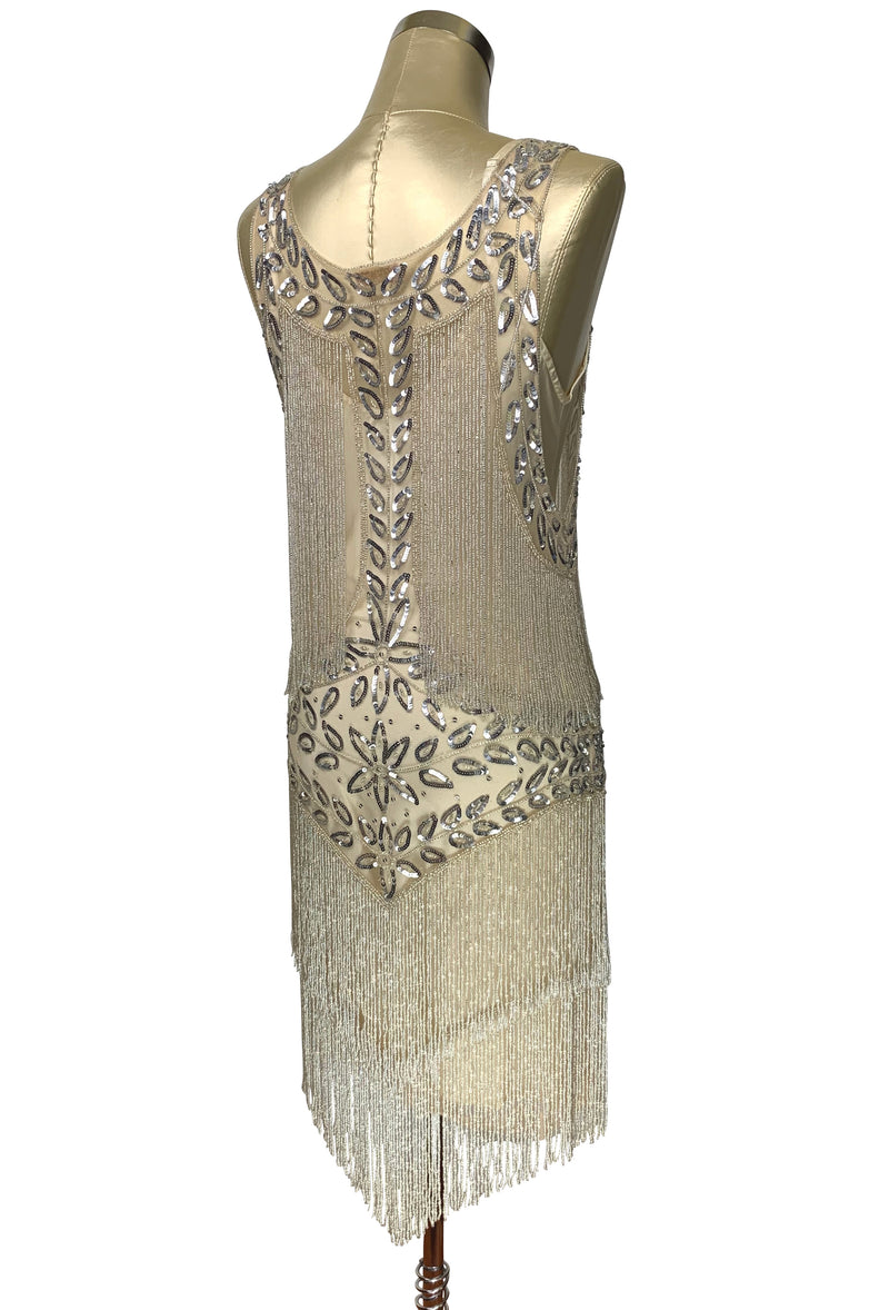 1920's Flapper Fringe Gatsby Party Dress - The Roxy - Champagne Silver Satin - The Deco Haus