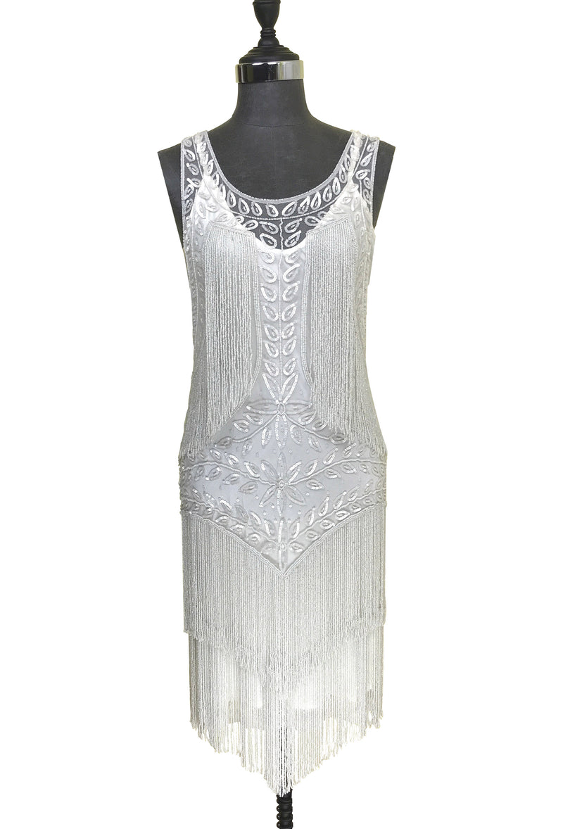 1920's Flapper Fringe Gatsby Party Dress - The Roxy - Crystalline White