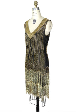 1920's Flapper Fringe Gatsby Party Dress - The Zenith - Gold on Black - The Deco Haus