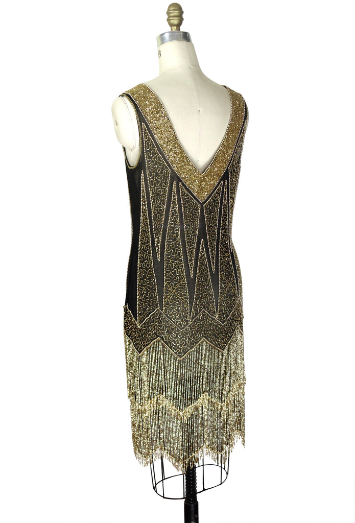 1920's Flapper Fringe Gatsby Party Dress - The Zenith - Gold on Black
