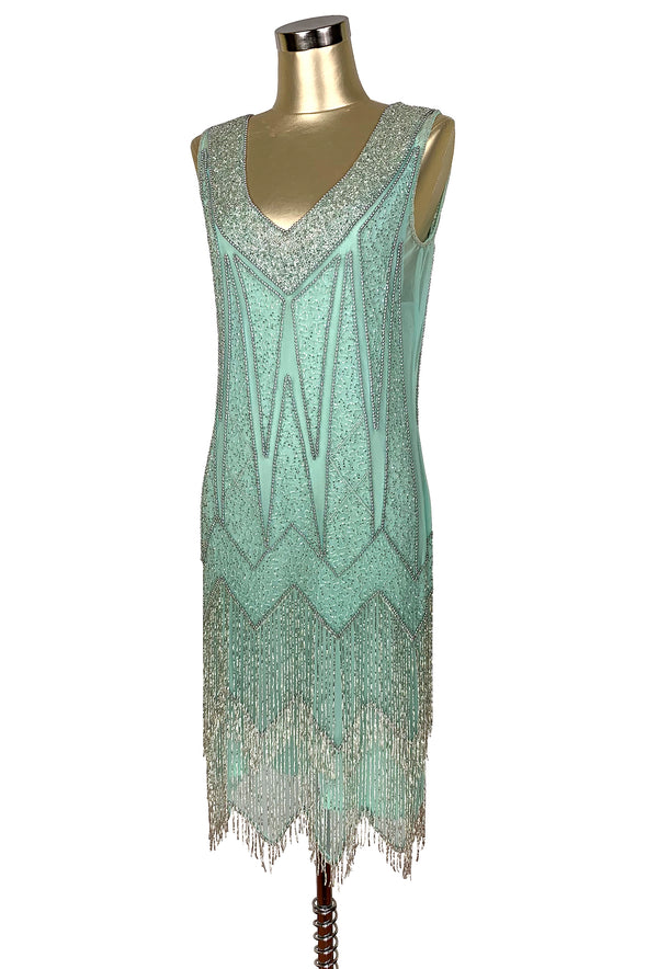 1920's Flapper Fringe Gatsby Party Dress - The Zenith - Silver on Crème de Menthe