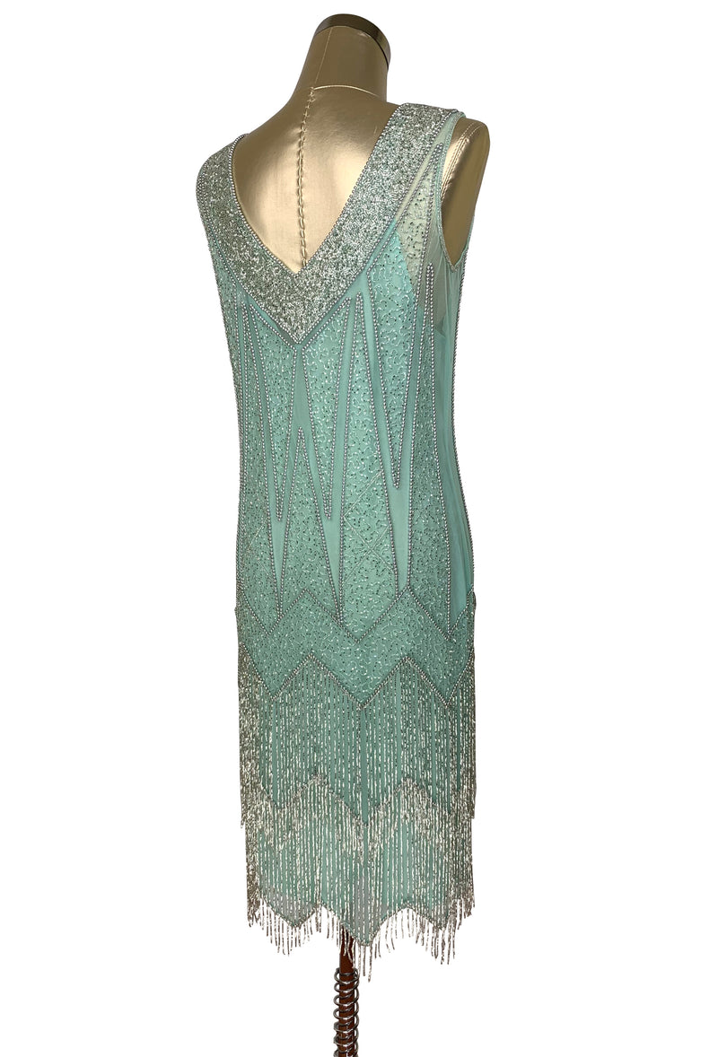 1920's Flapper Fringe Gatsby Party Dress - The Zenith - Silver on Turquoise Green - The Deco Haus