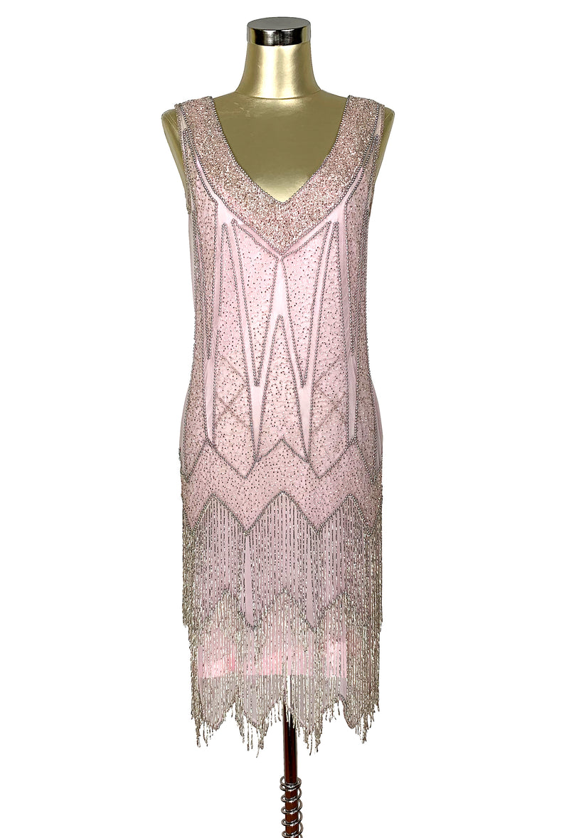 1920's Flapper Fringe Gatsby Party Dress - The Zenith - Silver on Vintage Pink - The Deco Haus