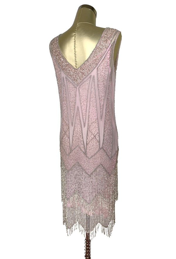 1920's Flapper Fringe Gatsby Party Dress - The Zenith - Silver on Vintage Pink
