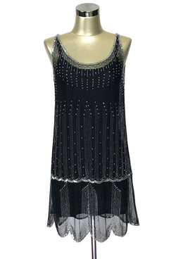 1920's Gatsby Beaded Party Dress - The Park Avenue  - Black Rhinestone - The Deco Haus