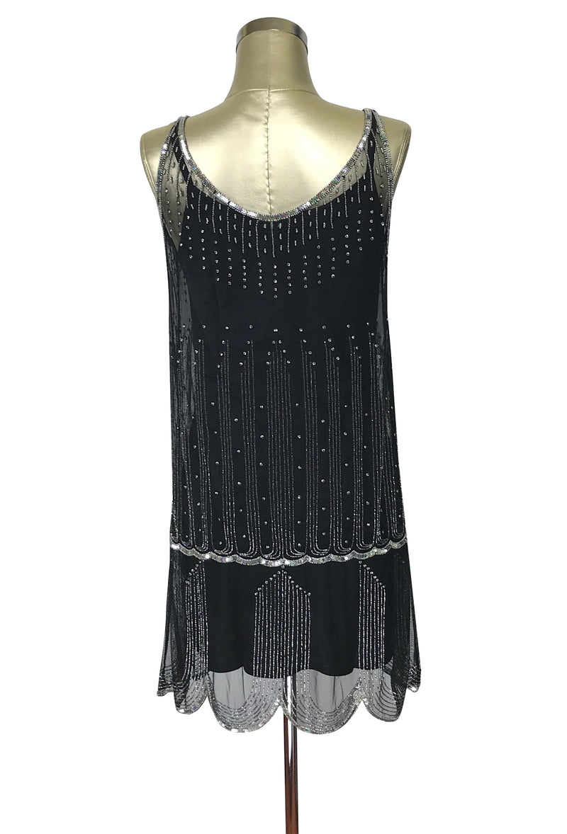 1920's Gatsby Beaded Party Dress - The Park Avenue  - Black Rhinestone