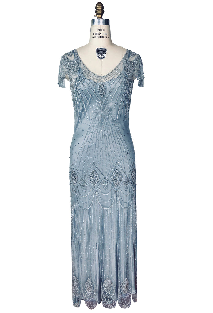 1920s Style Dresses, Flapper Dresses 1920s Gatsby Flutter Sleeve Beaded Party Dress - The Starlet - Full-Length - Deco Silver $449.95 AT vintagedancer.com