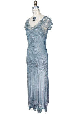 1920s Evening Gowns by Year 1920S GATSBY FLUTTER SLEEVE BEADED PARTY DRESS - THE STARLET - FULL-LENGTH - DECO SILVER $449.95 AT vintagedancer.com