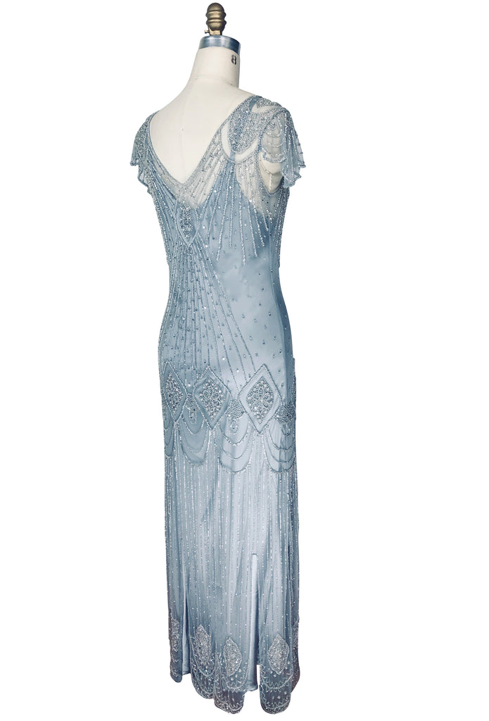1920's Gatsby Flutter Sleeve Beaded Party Dress - The Starlet - Full-Length - Deco Silver - The Deco Haus