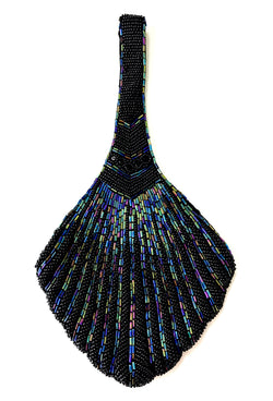 1920's Hand Beaded Deco Fan Wristlet Evening Purse - Black Aurora
