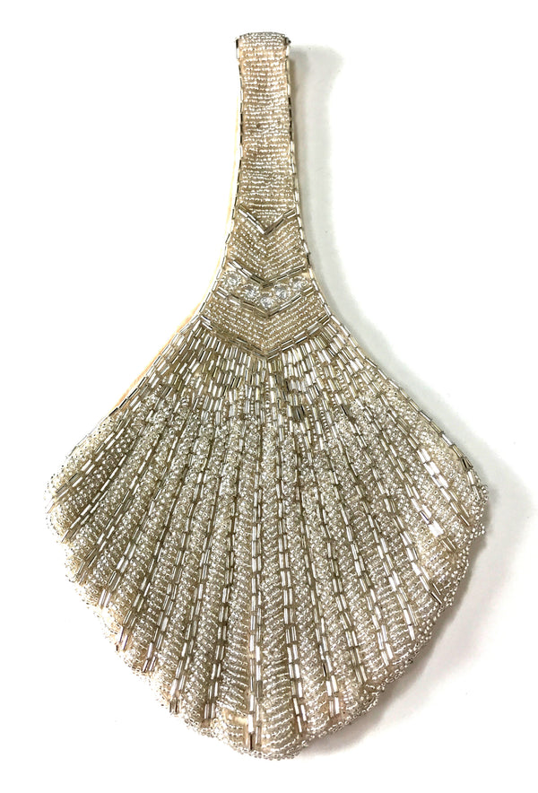 1920's Hand Beaded Deco Fan Wristlet Evening Purse - Champagne Crystal