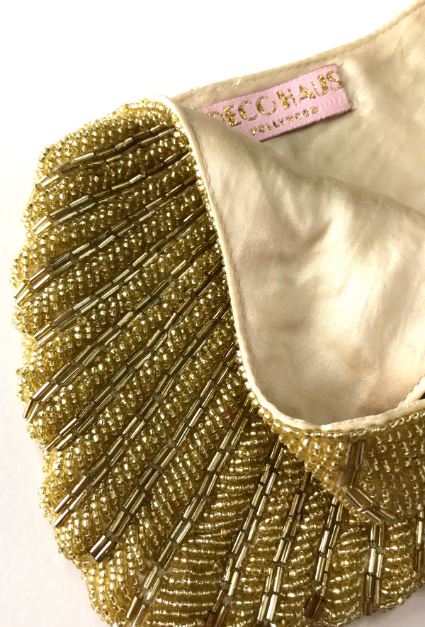 1920's Hand Beaded Deco Fan Wristlet Evening Purse - Glamour Gold