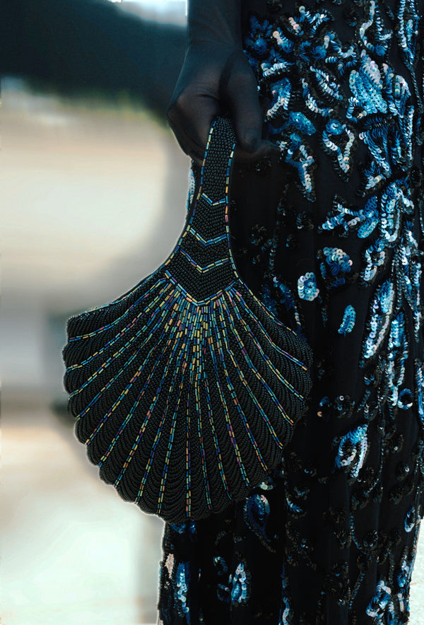 1920's Hand Beaded Deco Fan Wristlet Evening Tote - Large - Black Iridescent