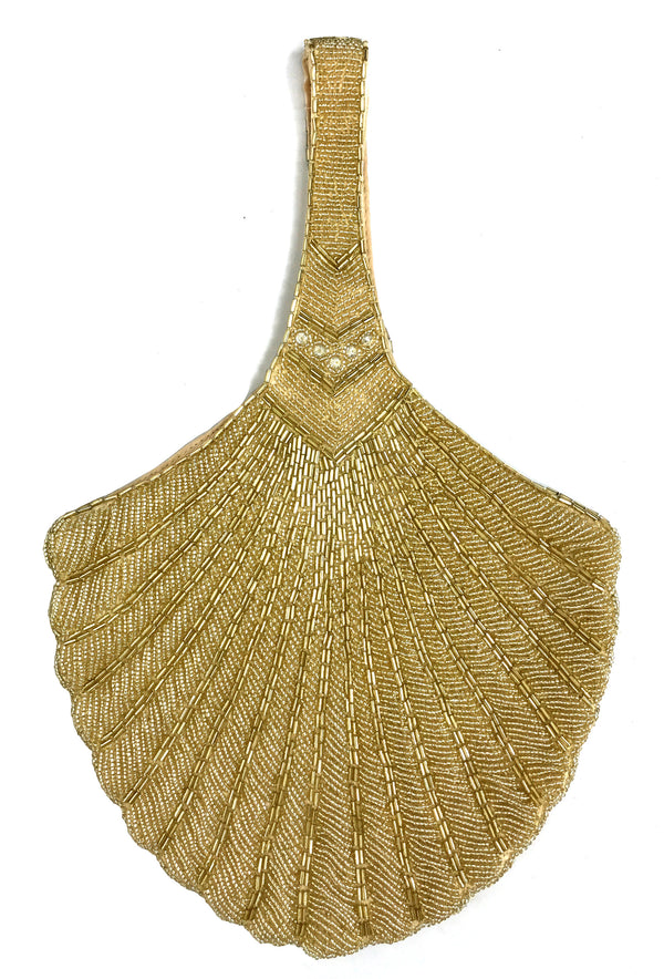 1920's Hand Beaded Deco Fan Wristlet Evening Tote - Large - Glamour Gold - The Deco Haus