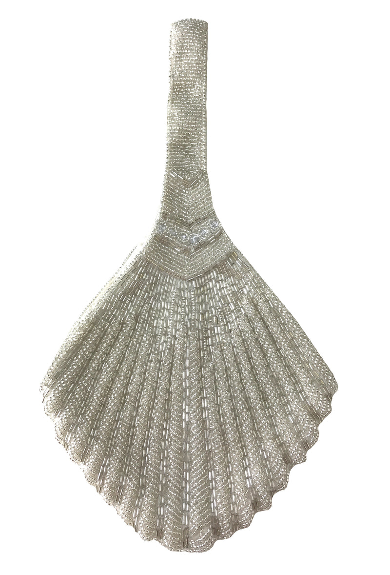 1920's Hand Beaded Deco Fan Wristlet Evening Purse - Pale Silver