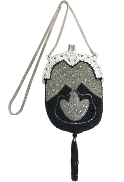 1920s Handbags, Purses, and Shopping Bag Styles 1920S INSPIRED ART DECO GATSBY BEADED TASSEL EVENING PURSE - BLACK SILVER $74.95 AT vintagedancer.com