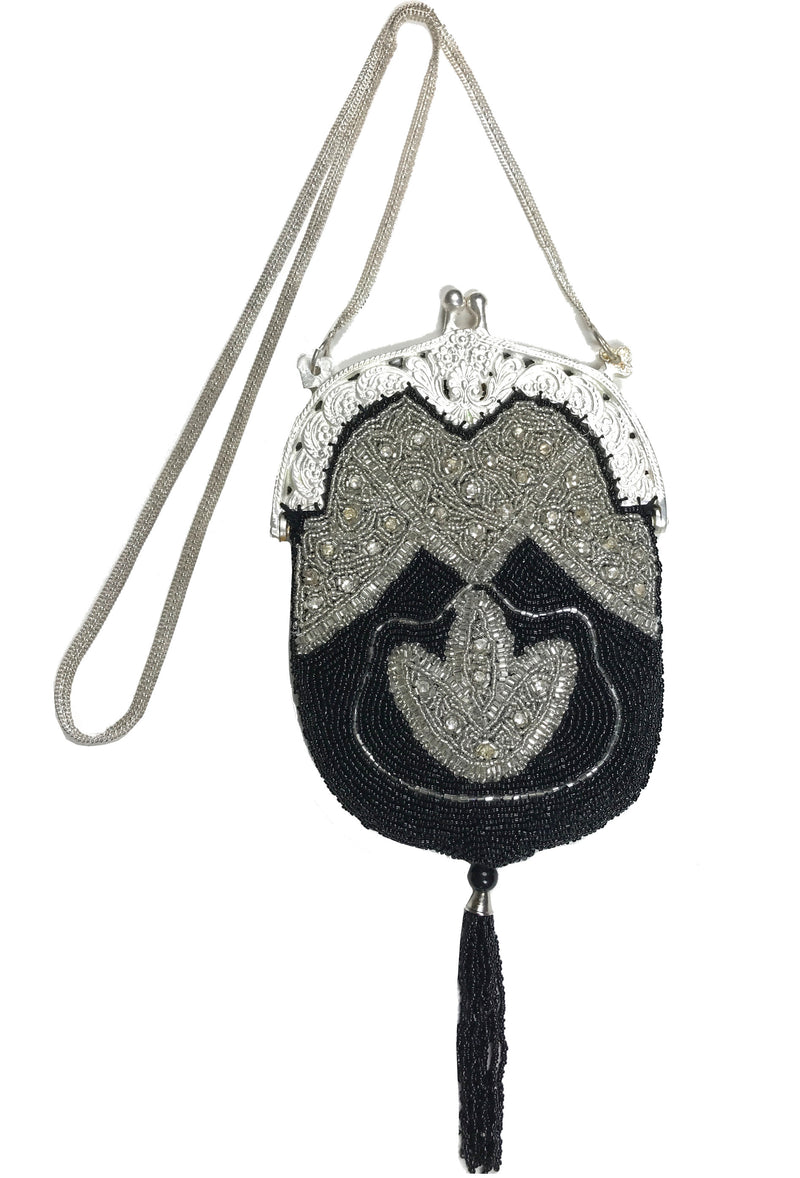 1920's Inspired Art Deco Gatsby Beaded Tassel Evening Purse - Black Silver - The Deco Haus