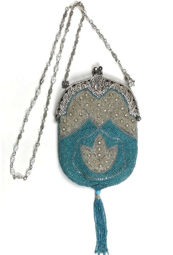 1920's Inspired Art Deco Gatsby Beaded Tassel Evening Purse - Turquoise Silver - The Deco Haus