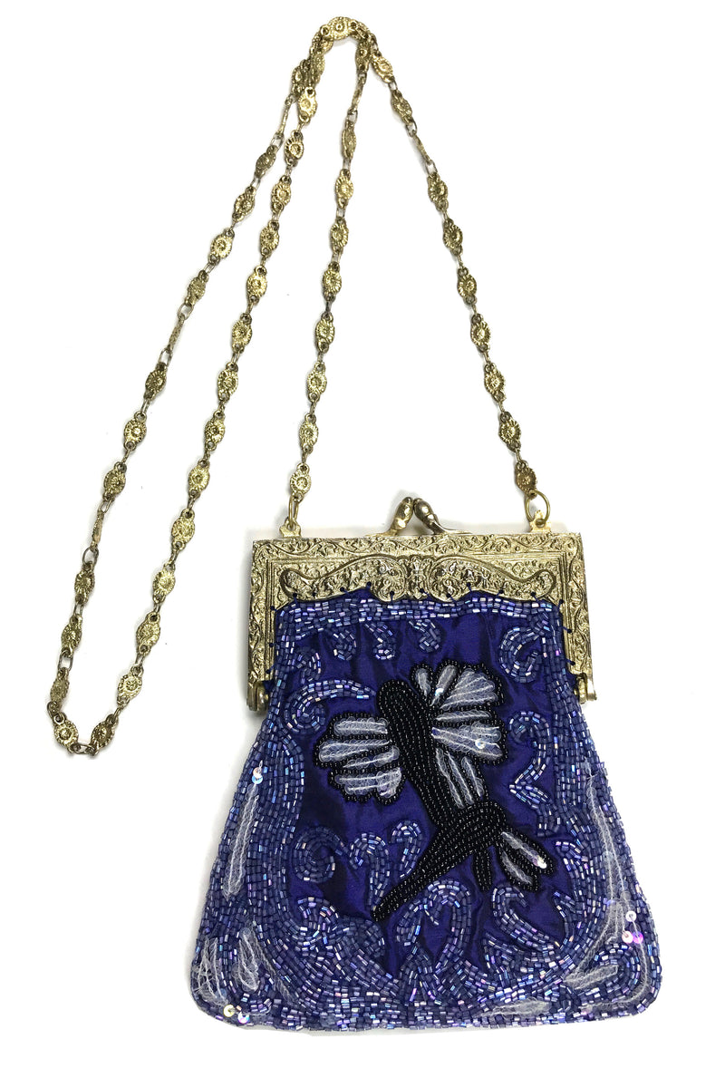 1920's Inspired Gatsby Beaded Evening Bag - Cobalt Blue Dragonfly - The Deco Haus