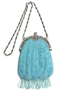 1920's Inspired Gatsby Beaded Evening Bag - Tiffany Blue Deco Drape - The Deco Haus