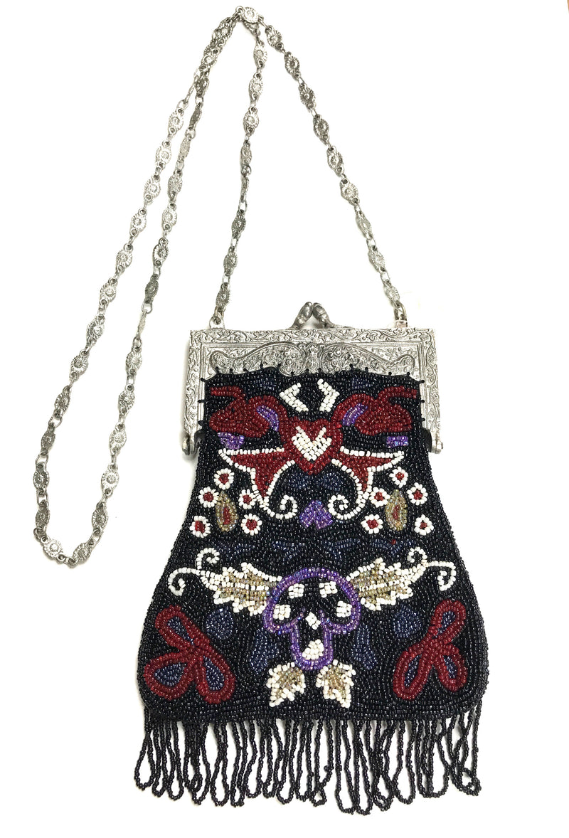 1920's Inspired Gatsby Beaded Evening Purse - Black Antique Floral - The Deco Haus