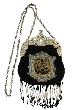 1920's Inspired Gatsby Beaded Evening Purse - Royal Crest - Black