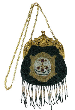 1920's Inspired Gatsby Beaded Evening Purse - Royal Crest - Emerald - The Deco Haus