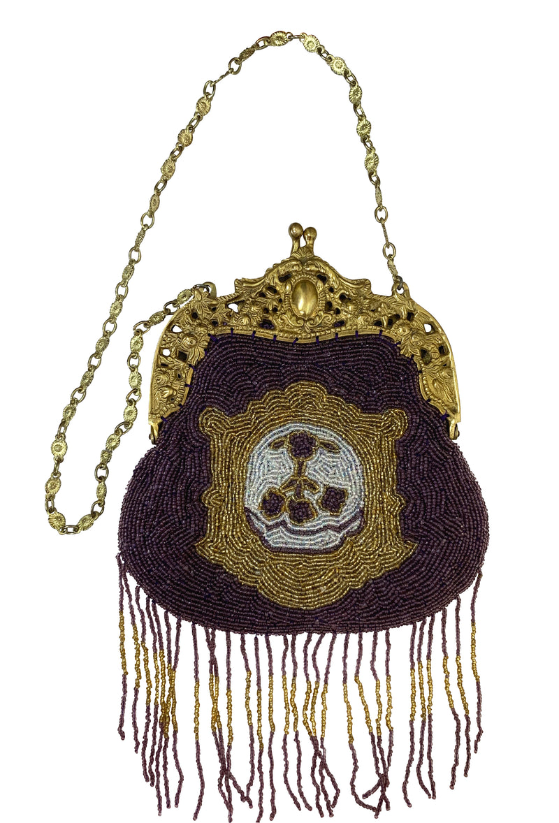 1920's Inspired Gatsby Beaded Evening Purse - Royal Crest - Plum - The Deco Haus