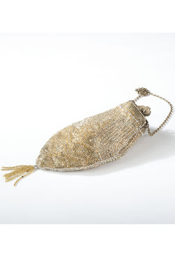 1920's Inspired Gatsby Beaded Fishscale Tassel Evening Purse - Gold - The Deco Haus