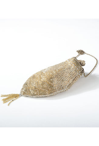 1920's Inspired Gatsby Beaded Fishscale Tassel Evening Purse - Gold